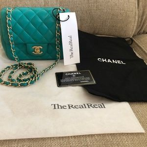 AUTHENTIC CHANEL QUILTED MINI SQUARE FLAP BAG